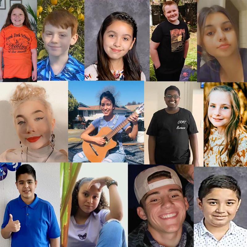 uusd student of the month collage image of 13 students of all ages March 2021