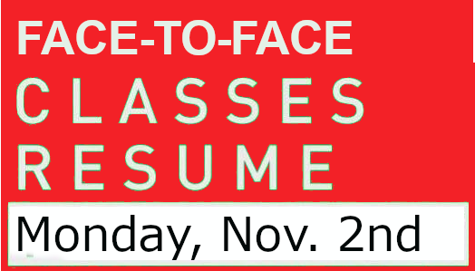 FAce-to-Fade Classes Resume Monday Nov 2nd