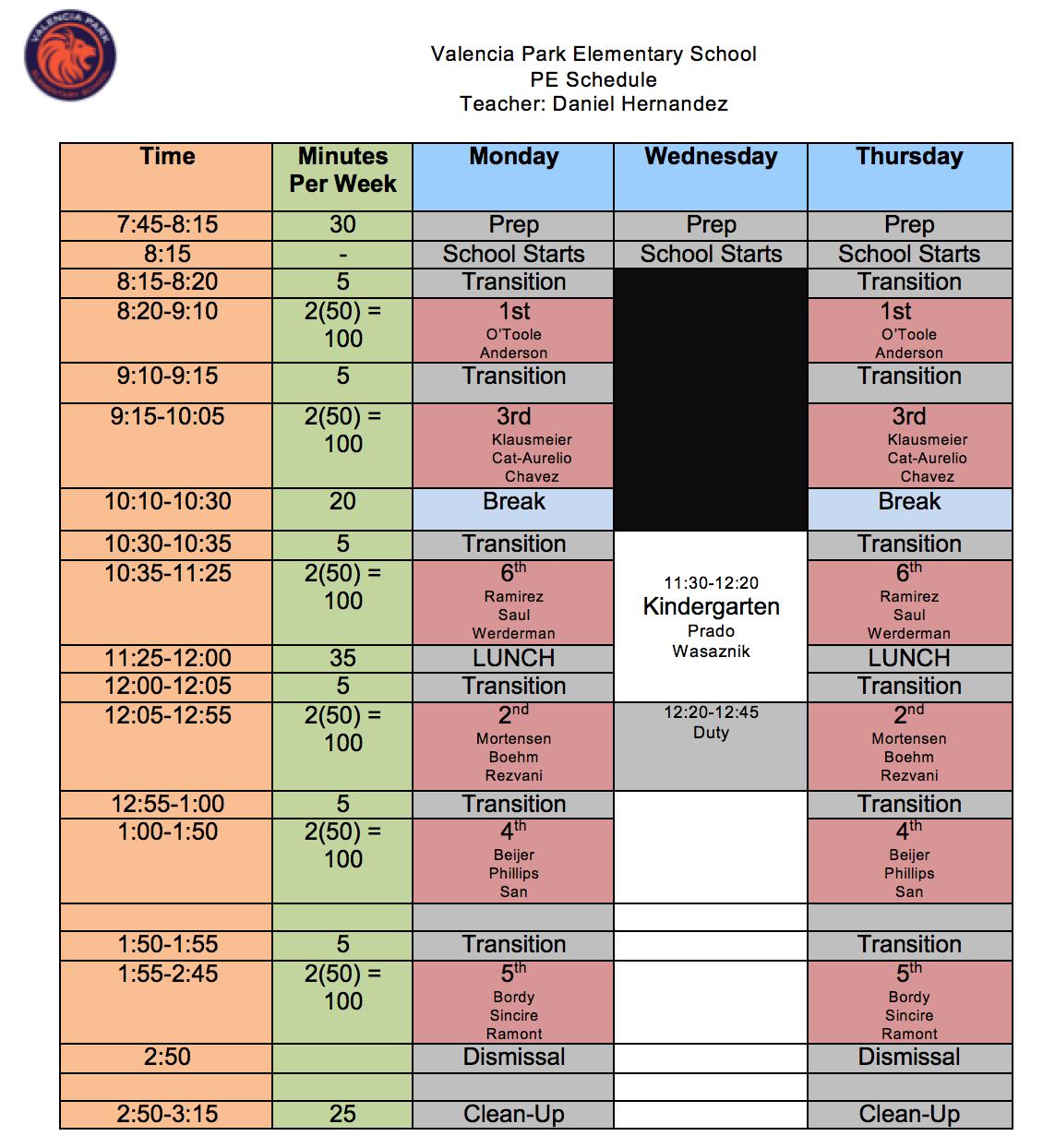 PE Schedule 2019-20