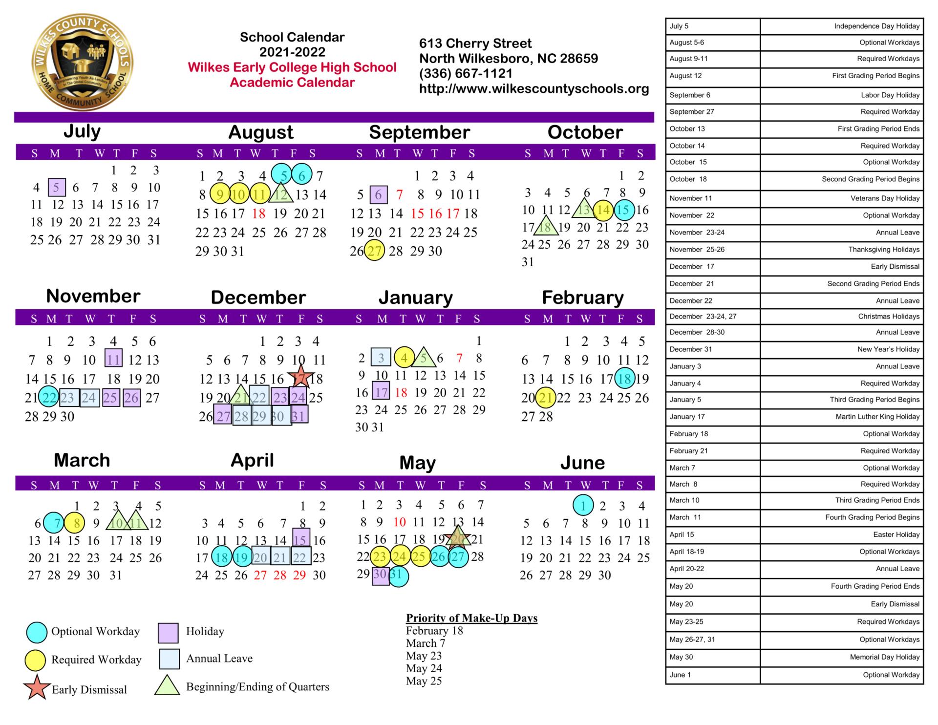 2021-2022 WECHS Academic Calendar