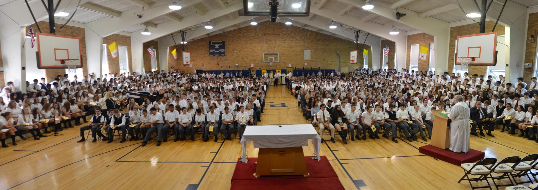 Pope John High School mass in gym
