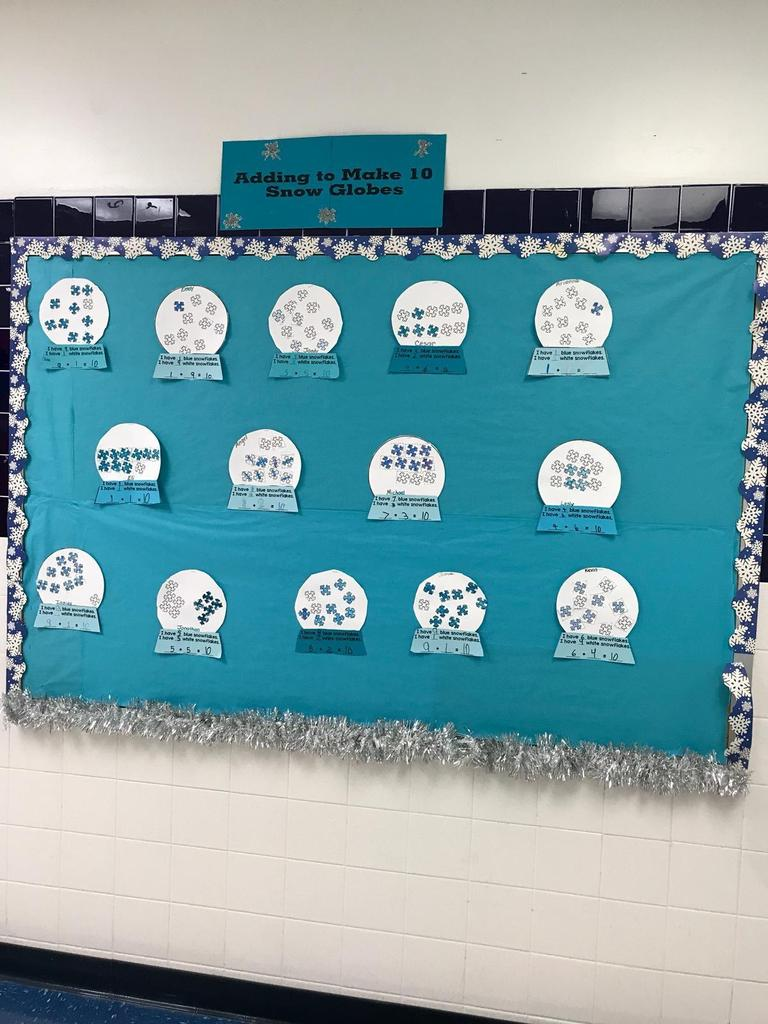 adding to make 10 snow globes STEM carreers bulletin board kids drew themselves and wrote about the careers they want math activity