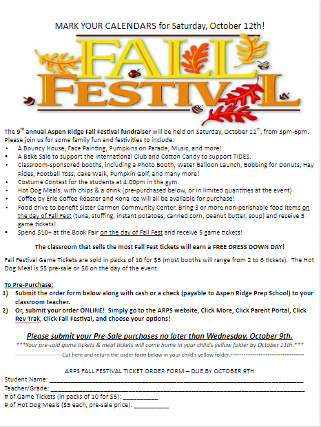 Flyer about ticket prices for the fall festival