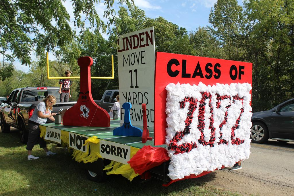 A homecoming parade float