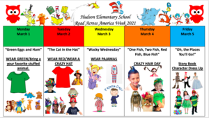 Read Across America Activities for the week of March 1 to March 5