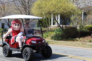 Sparty on a golf cart