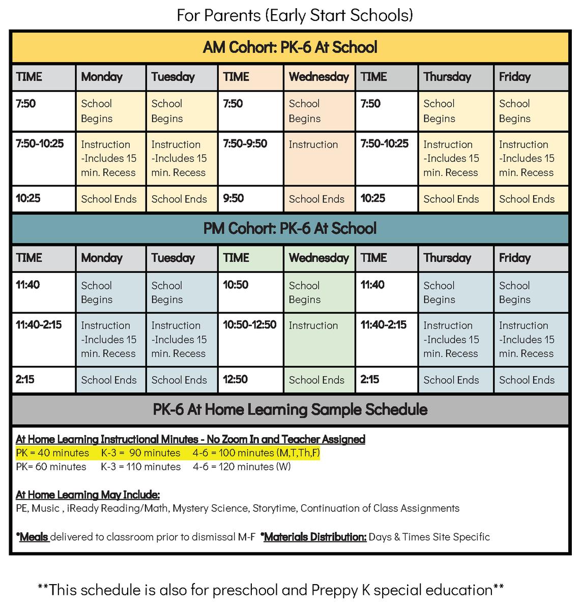 Elementary schedule.