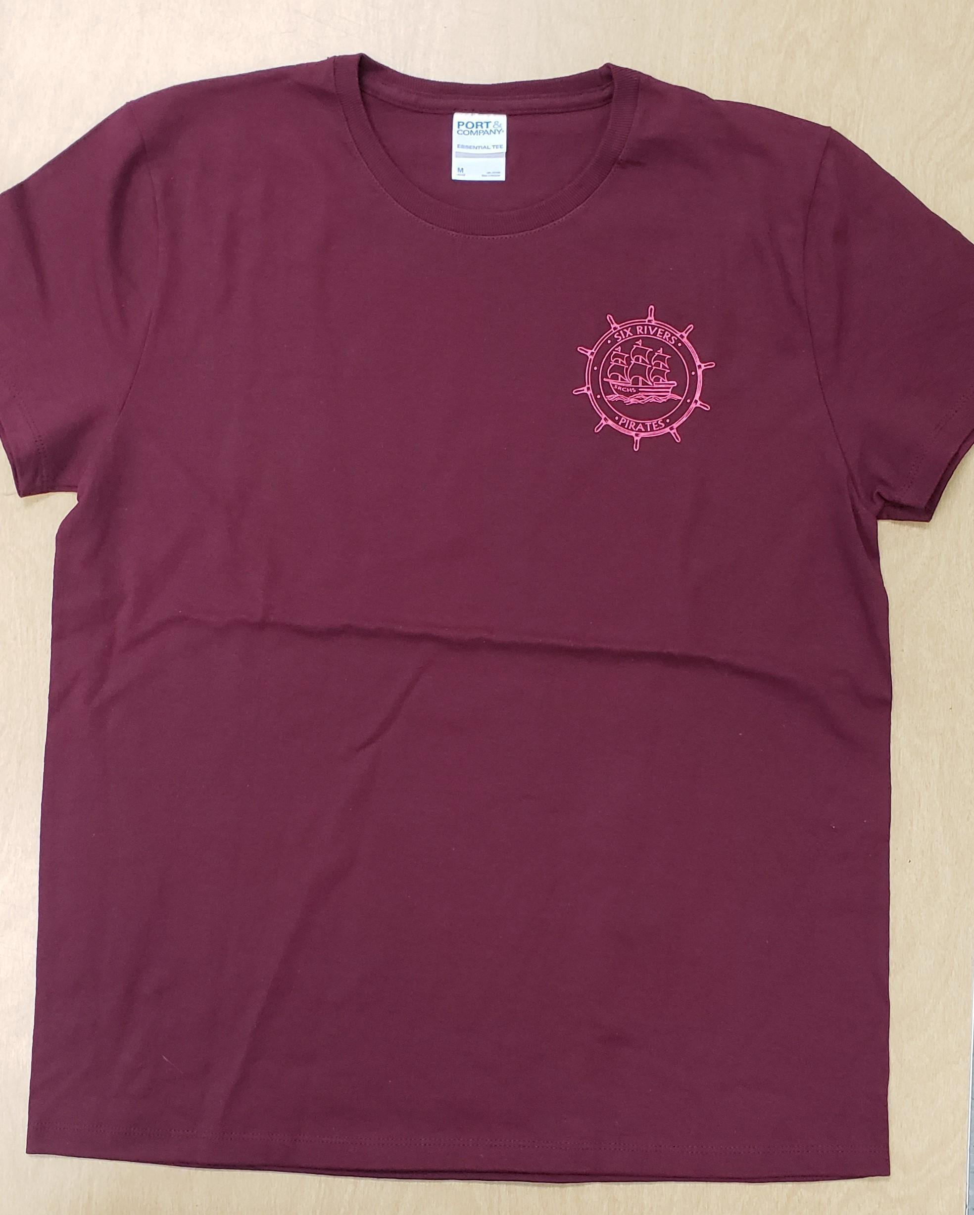 Maroon Shirt, Pink Logo - Women's Small - Front Side