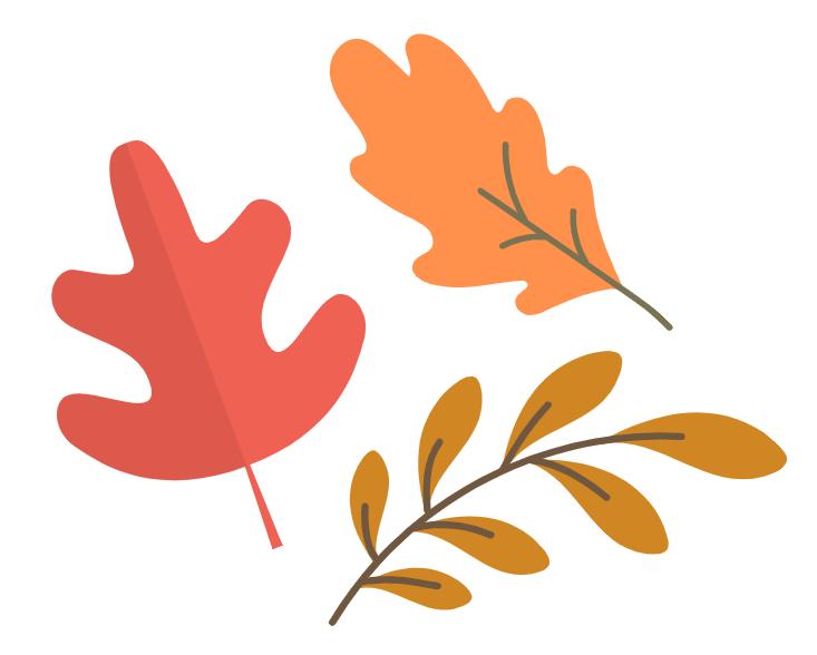 A red leaf, a brown leaf, and an orange leaf
