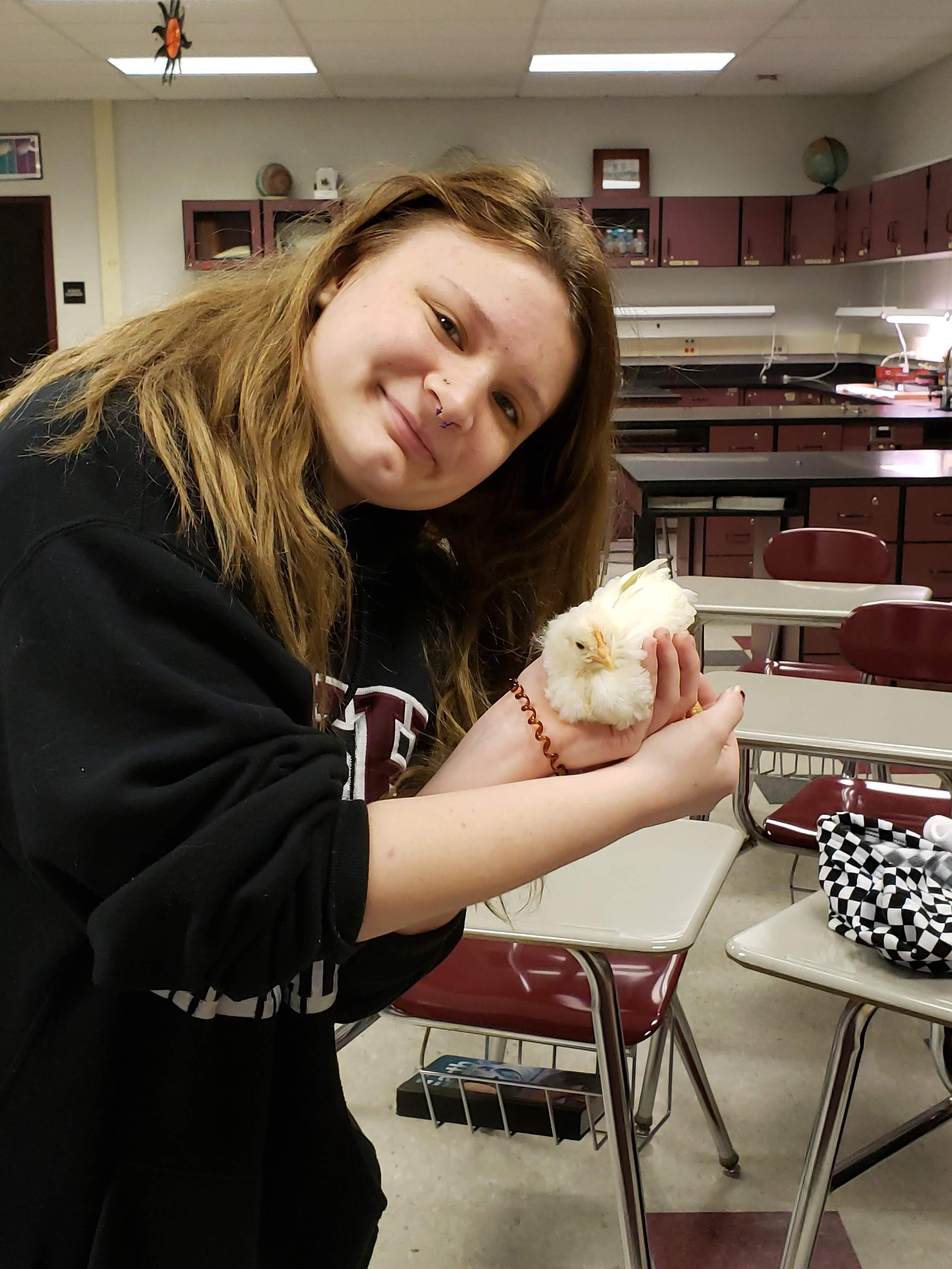 Makayla loves Harry the Chicken