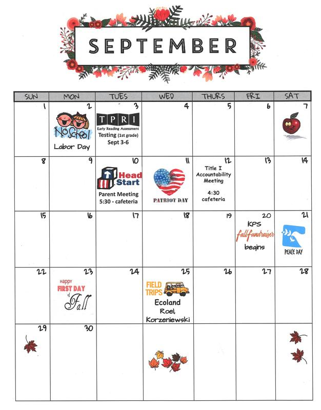 SEPTEMBER PARENT CALENDAR Featured Photo