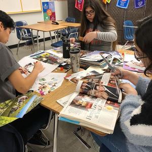Sierra Vista High School NAMI club members create vision boards during a weekly meeting.