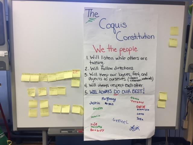 The Coquis created their own classroom constitution