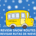 Review alternate snow stops with school bus and snow in the background.