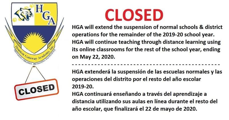 HGA closed for rest of 2019-20 school year - May 22, 2020