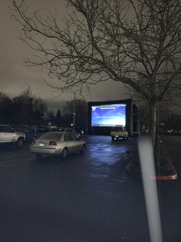 big screen in parking lot