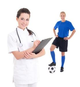 Picture of a nurse/doctor and a female athlete