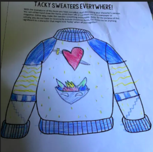Sweater design drawing with blue trim and sword through heart