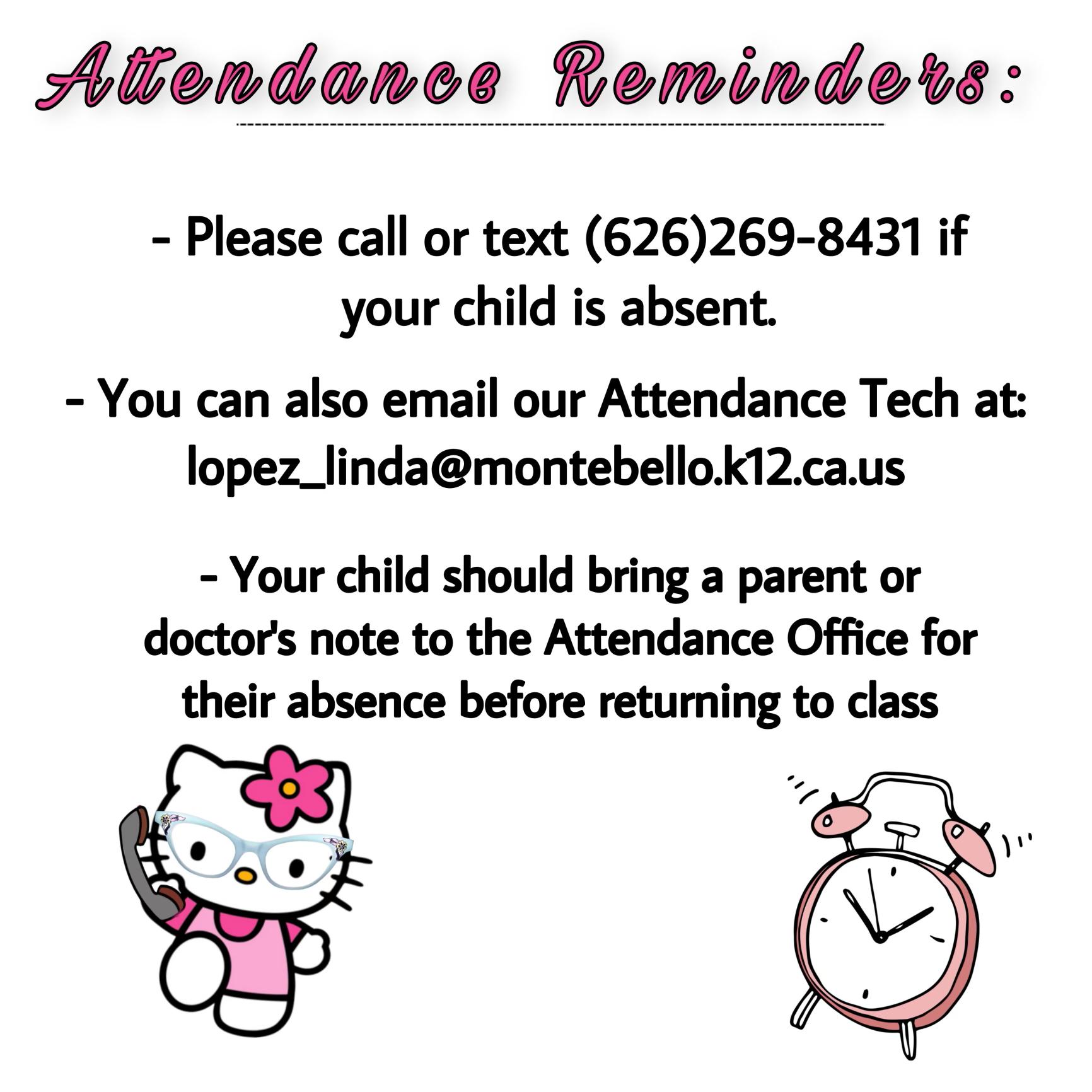 Attendance Reminders English