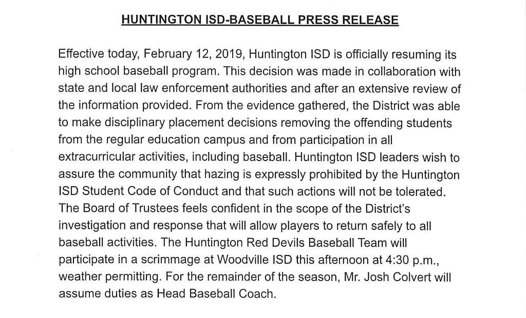 Baseball press release