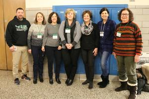 Members of the Second/Third Generation Holocaust Survivors Group of Congregation Beth Israel in Scotch Plains visited Edison Intermediate School on Feb. 1 to share  facts, photographs and a common message that hate cannot be tolerated anywhere.  (L-R) Edison principal Dr. Matthew Bolton, Claire Bornstein, Lydia Fogelman, Barbara Simon, Rita Geller, Debra Feldman, and Gila Glassel.