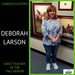Deborah Larson, Guest Teacher of the Season for 2018-19