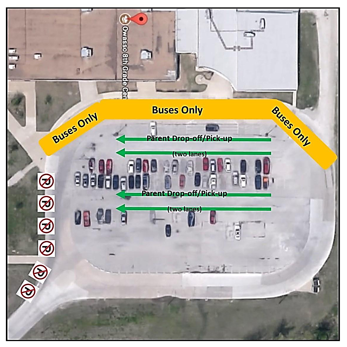 aerial view of 8th grade parking lot with parent drop off