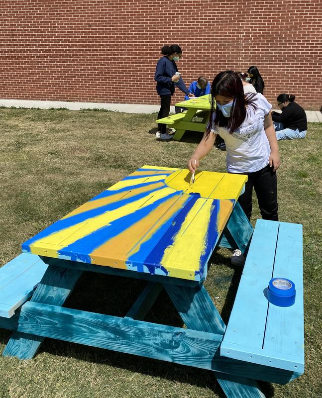 Students work on tables