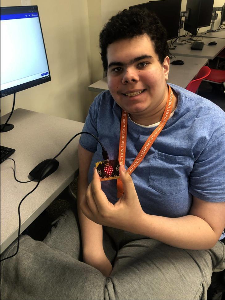 A student at a computer