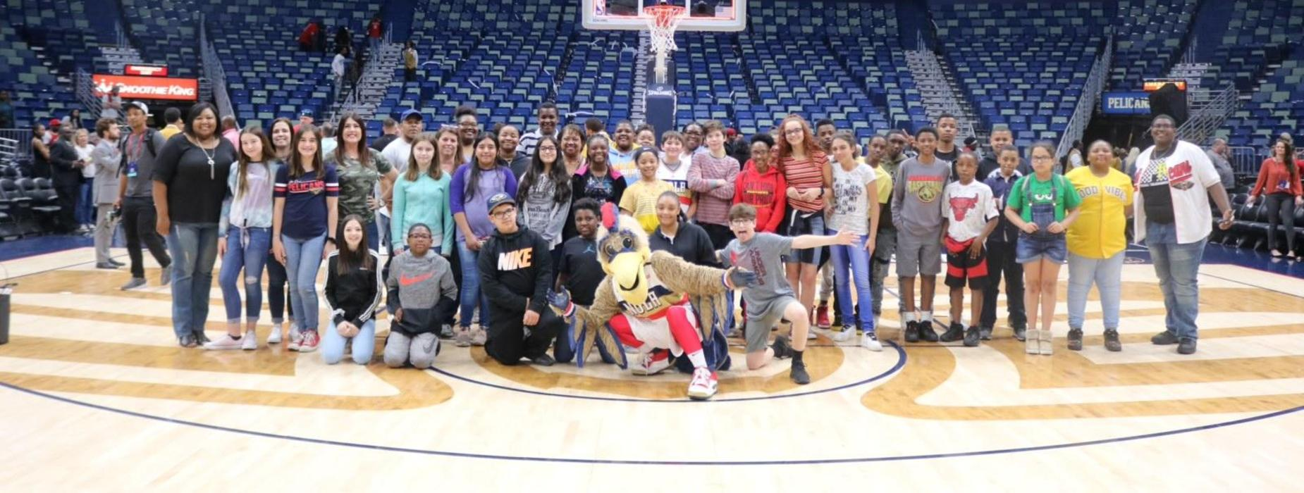 Sunset Middle School students were able to experience a New Orleans Pelicans game as an incentive for having perfect attendance for Saturday tutoring sessions. Weekly PBIS drawing winners were also invited to attend.