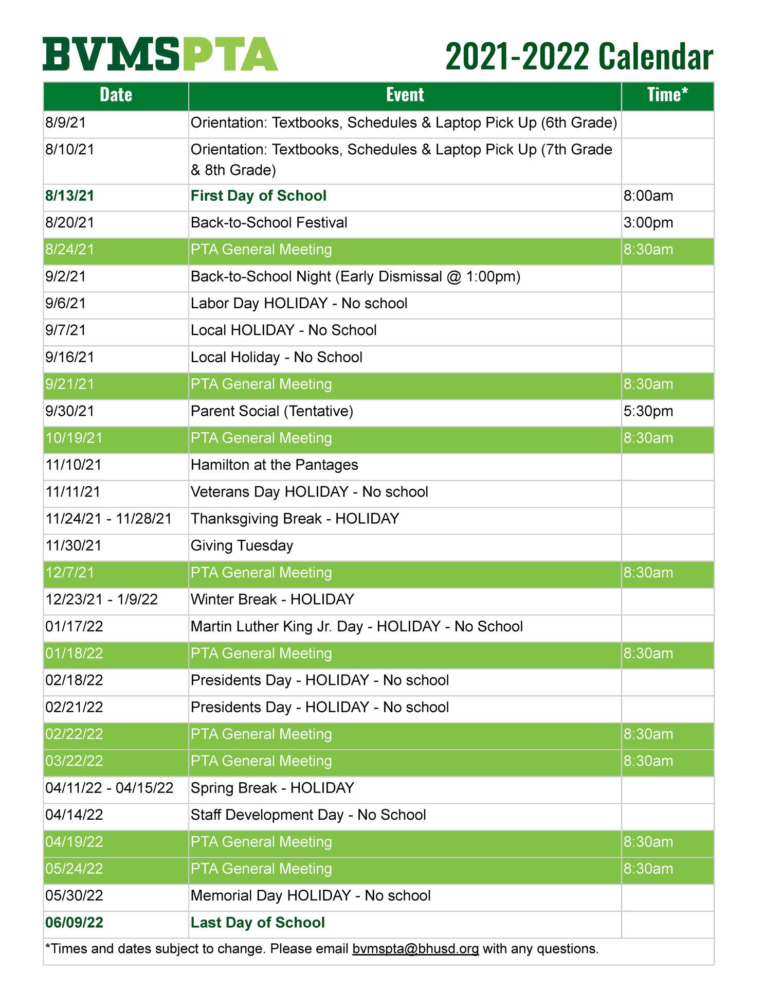 PTA Meeting Schedule 2021-2022