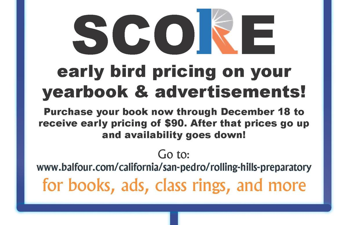 Purchase your yearbook by 12/18 to receive the early bird pricing of $90. Additional details in text below.