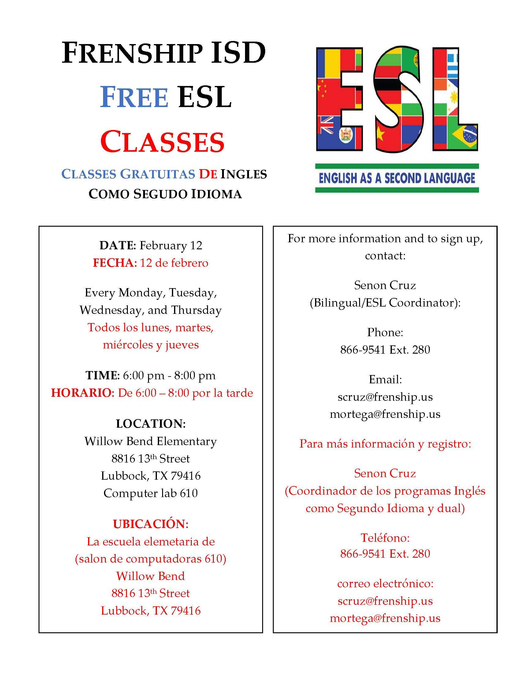 FISD Adult ESL Flyer