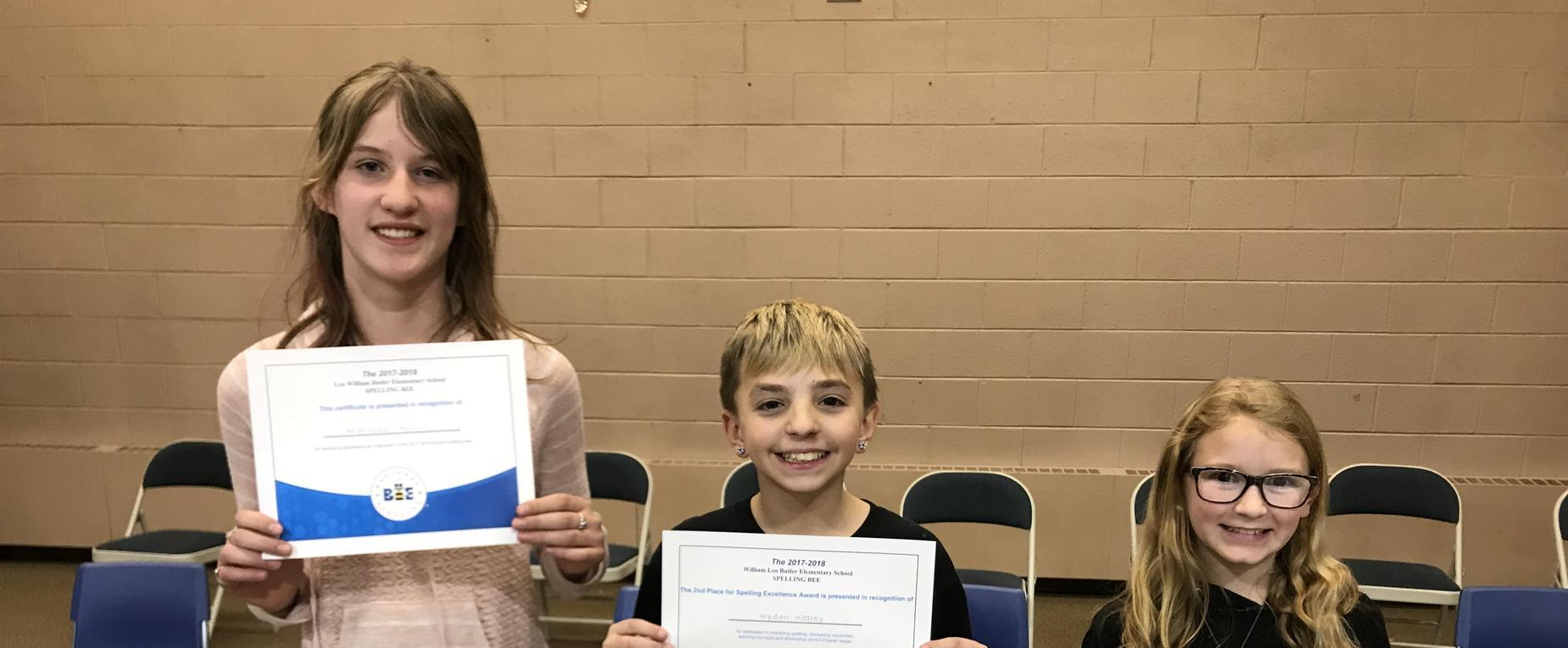 Butler Spelling Bee Winners