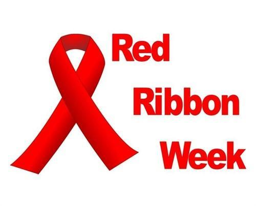 red ribbon week sign with ribbon