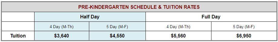 Pre-Kindergarten Schedule and Rates