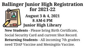 Junior High Registration
