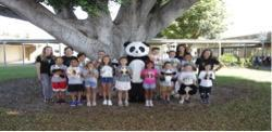 Acacia students with panda mascot