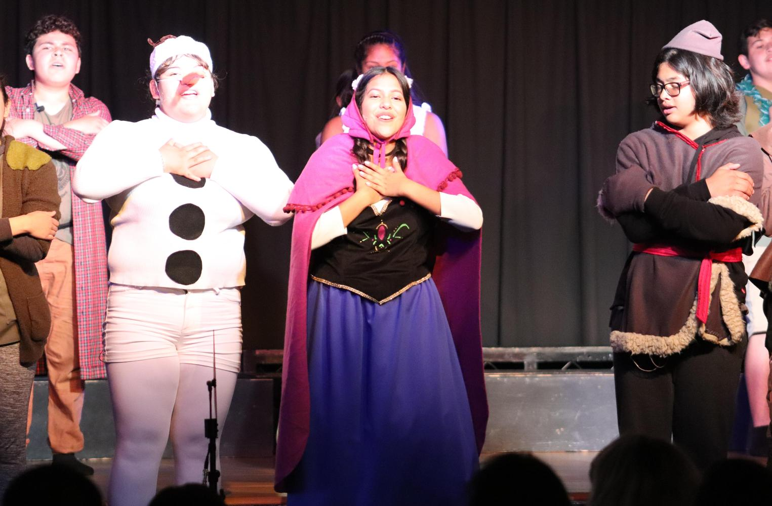 Drama students presenting Frozen