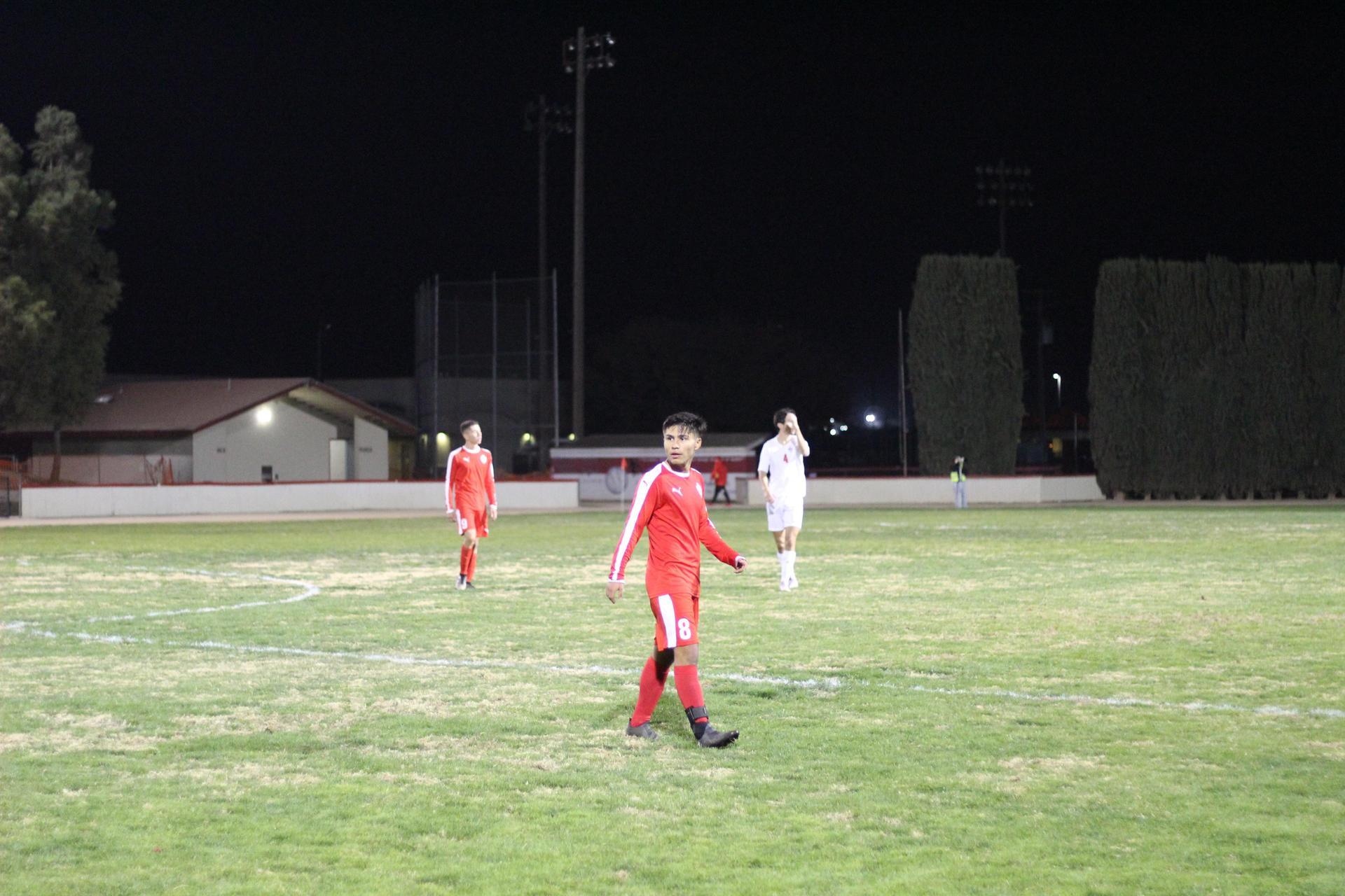 Favian Casillas looking down the field