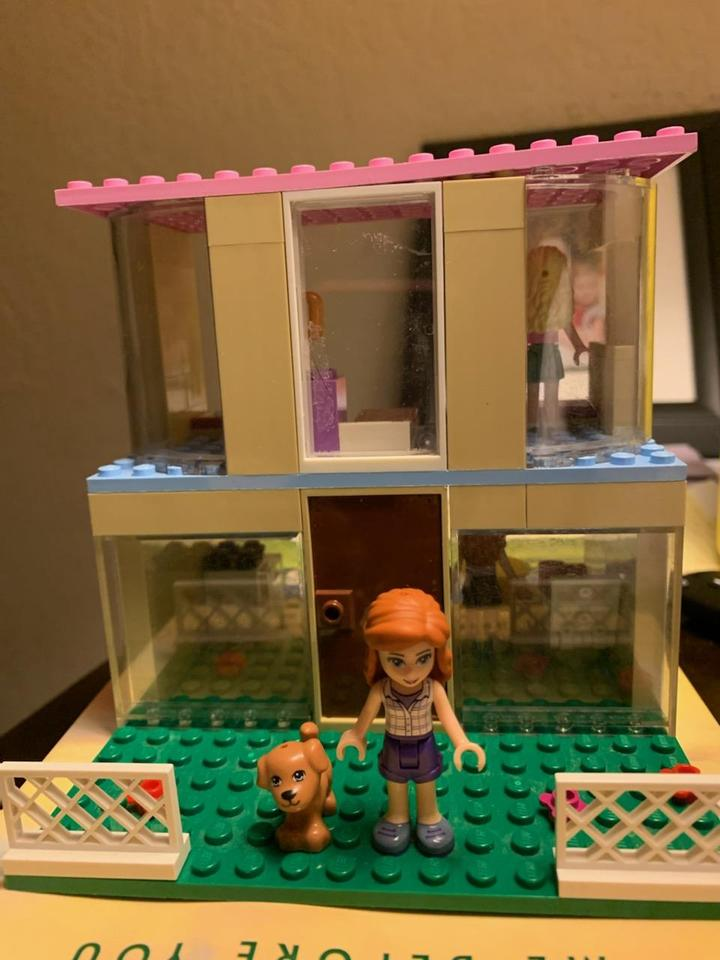 two story lego house with girl and dog in front