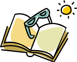Reading book with sun and glasses