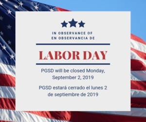 Happy Labor Day - No School Monday, September 2, 2019