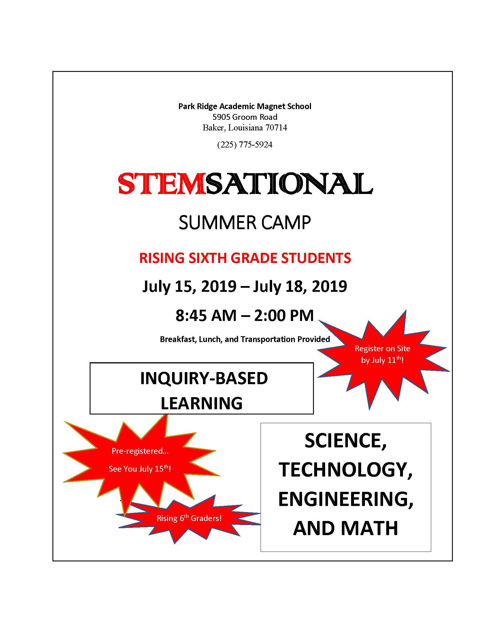 A graphic of the poster advertising the 6th grade STEM camp at Park Ridge