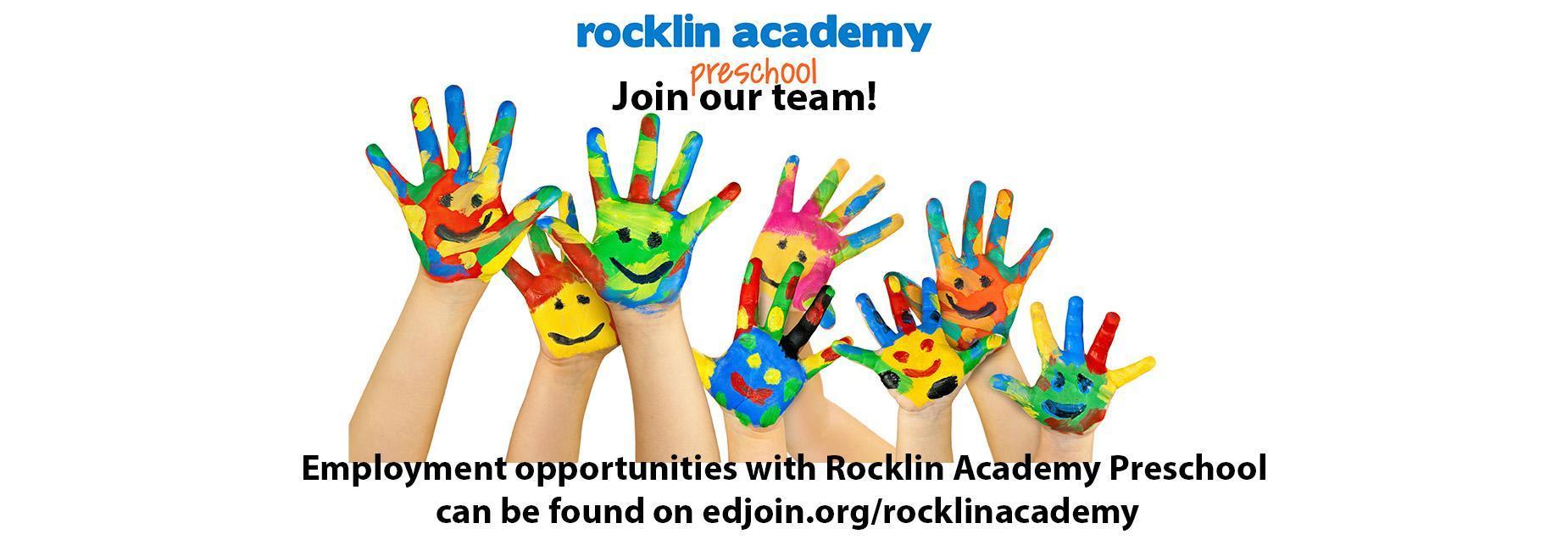 painted kids hands. rocklin academy preschool job opportunities at edjoin.org/rocklinacademy