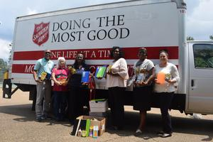 Local Salvation Army Donates School Supplies to McComb School District 2019-2020 from the Stuff the Bus Campaign