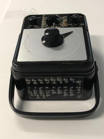 View of Simpson meter with braille labeling on top