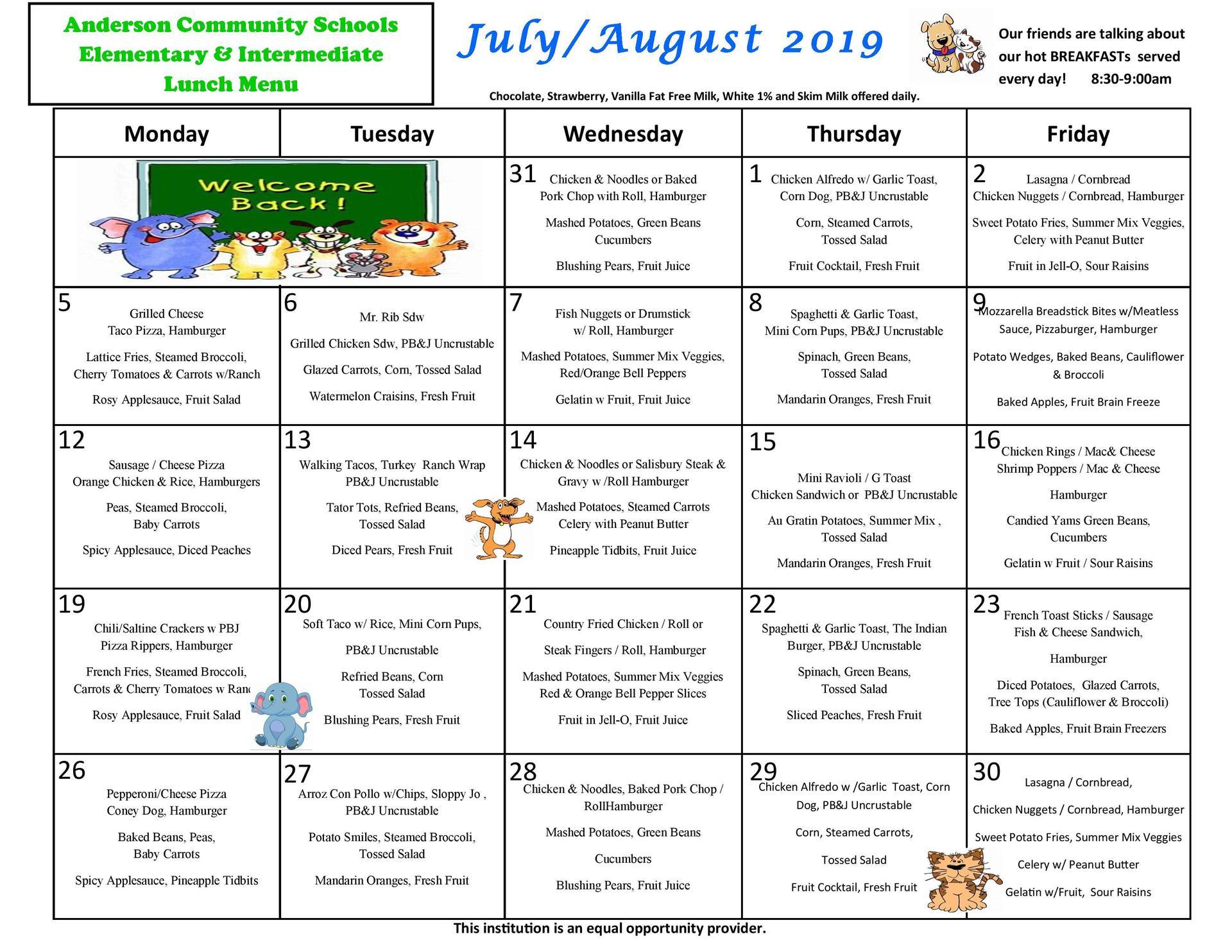 July/August menu