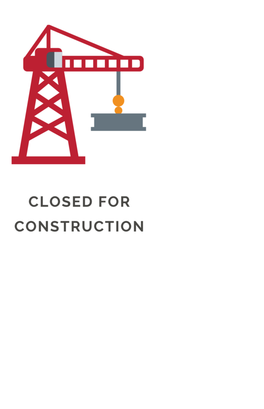 Sign closed for construction