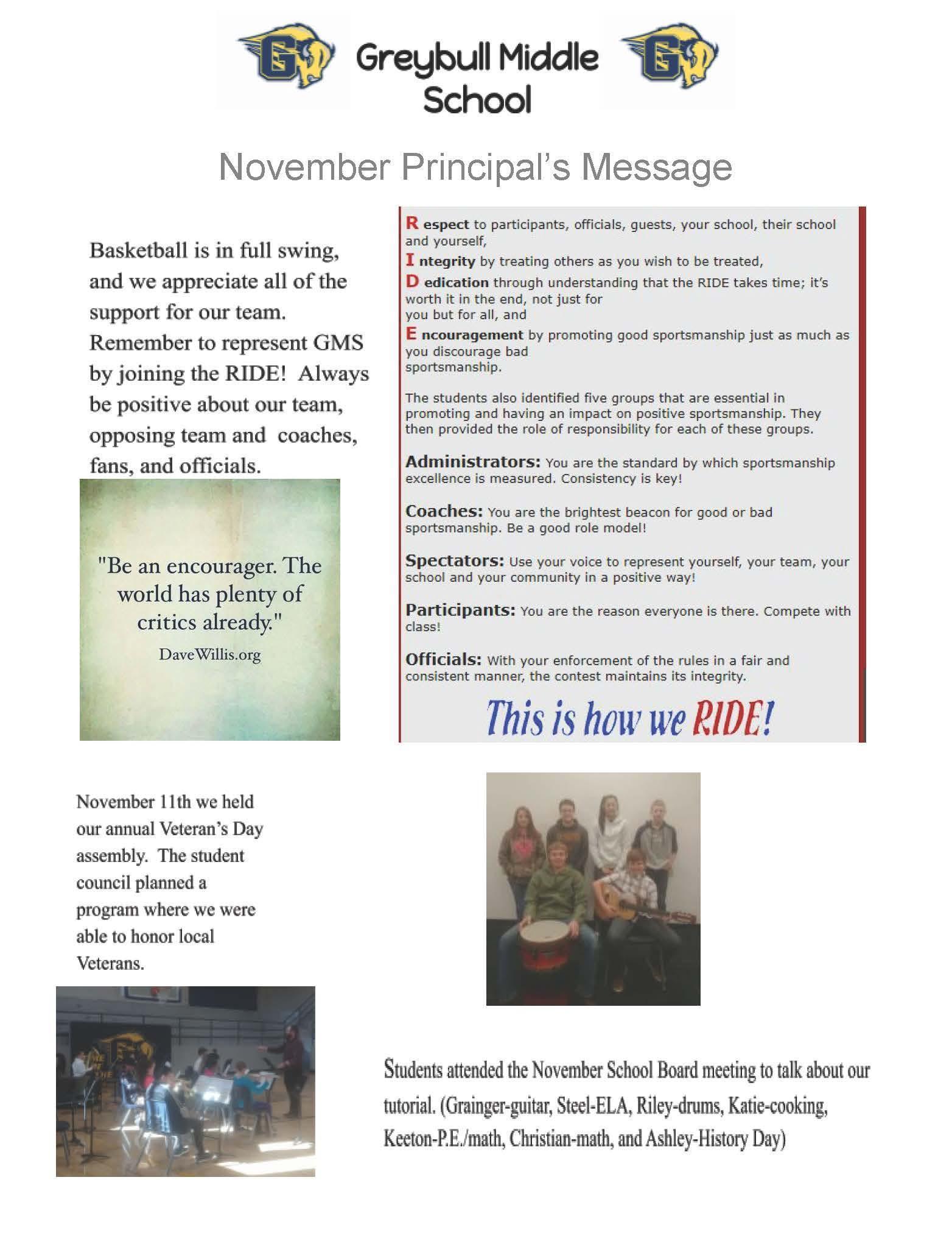 November Principal's Message